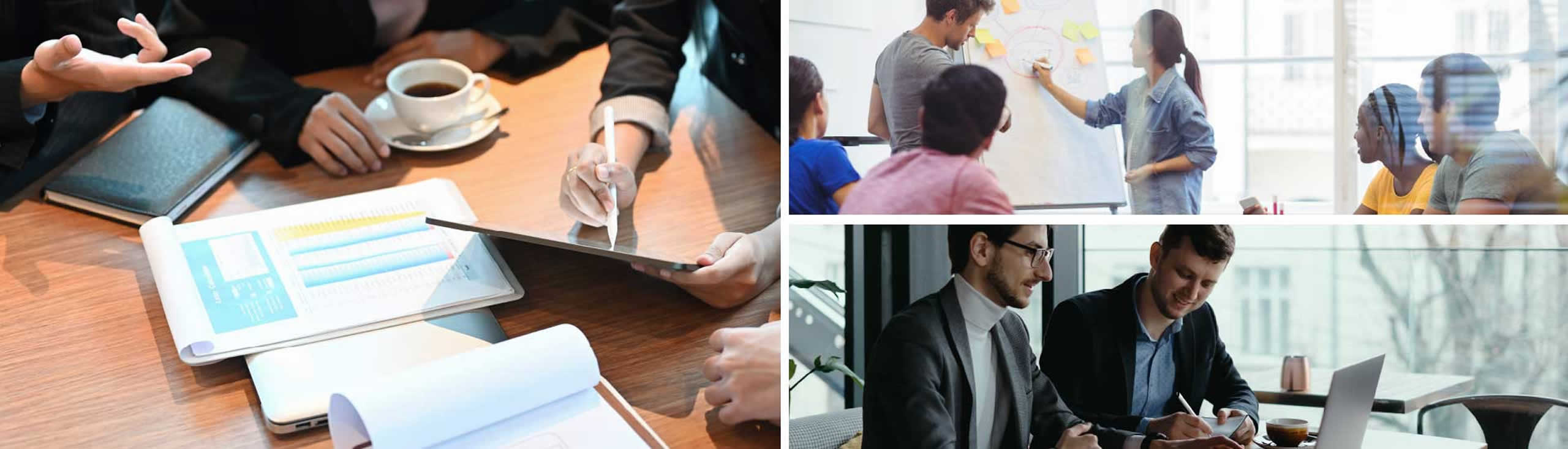 Three images of business executives collaborating and discussing projects and reports.