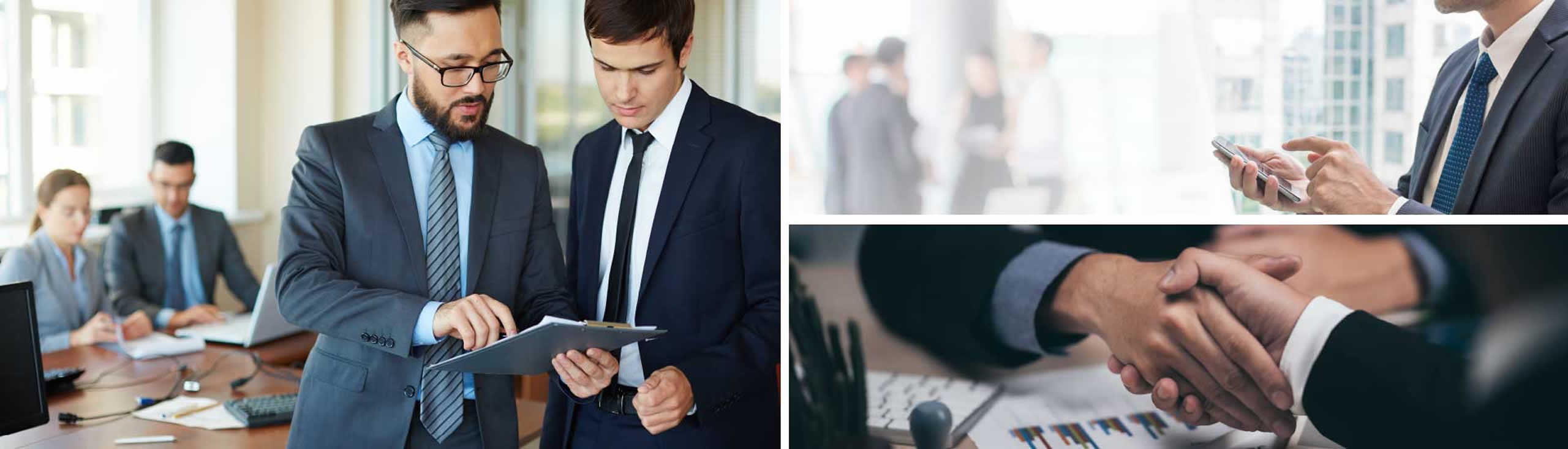 Three images of business executives discussing projects, shaking hands and meeting in a conference room.