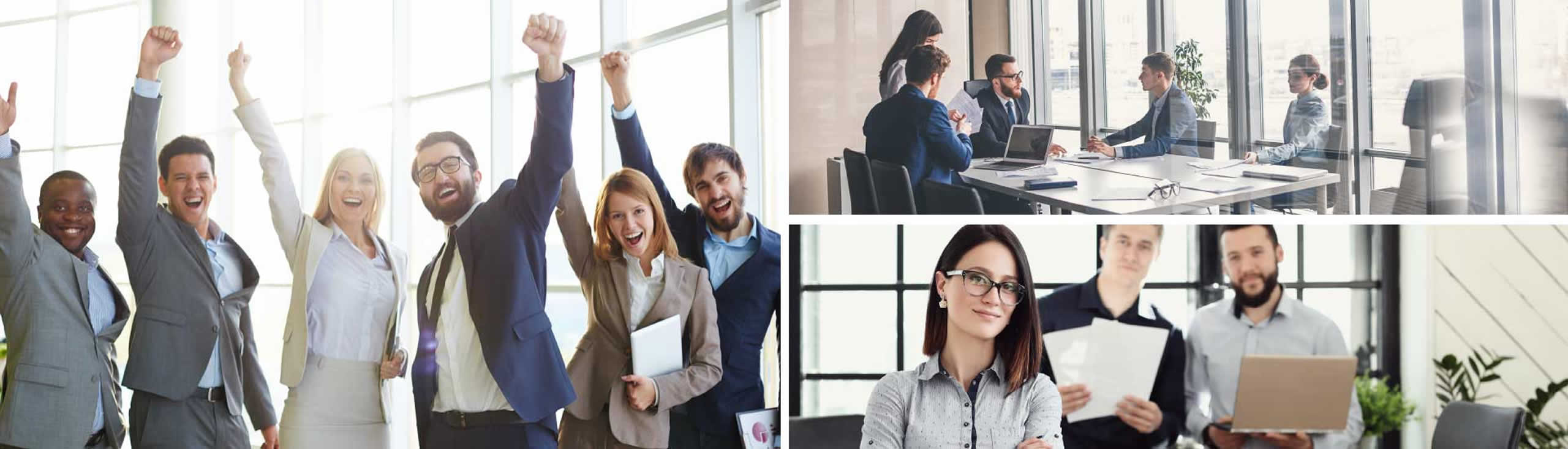 Three images of groups of business professionals in a bright office, discussing projects and working together.