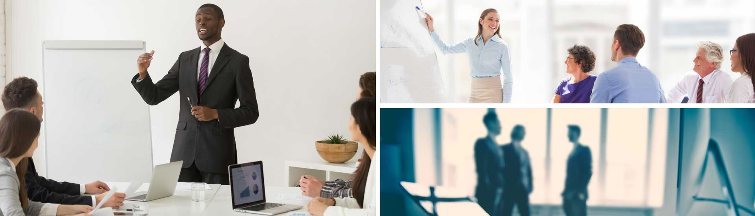 Three images of business professionals and executives giving presentations in front of coworkers.