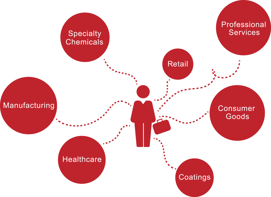 Red and white icon chart showing business executive and career positions like healthcare and retail