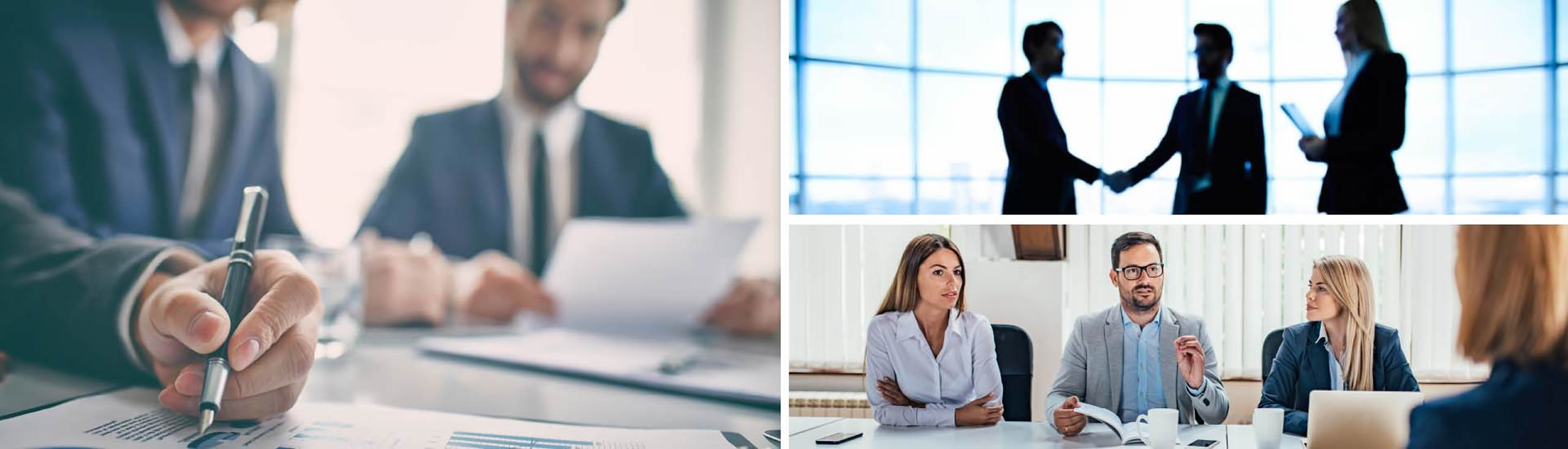 Three images of business professionals meeting, discussing ideas, taking notes and shaking hands.